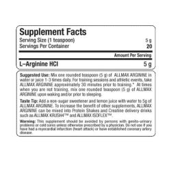 supplement facts for allmax nutrition arganine HCI l-arginine HCI 5g 20 servings per container
