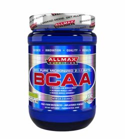 Blue bottle of Allmax Nutrition 100% pure micronized 2:1:1 Ratio BCAA 400g powder grey lid
