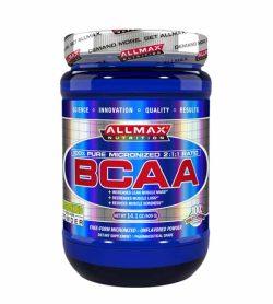 Blue bottle of Allmax Nutrition 100% pure micronized 2:1:1 Ratio BCAA 400g powder grey lid