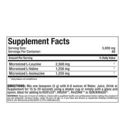 supplement facts for allmax nutrition 100% pure micronized 2:1:1 Ratio BCAA 400g powde