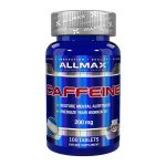 Blue Allmax Caffeine 200mg 100 tablets grey lid restore mental alertness energize your workouts