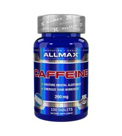 Blue Allmax Caffeine 200mg 100 tablets grey lid restore mental alertness energize your workouts
