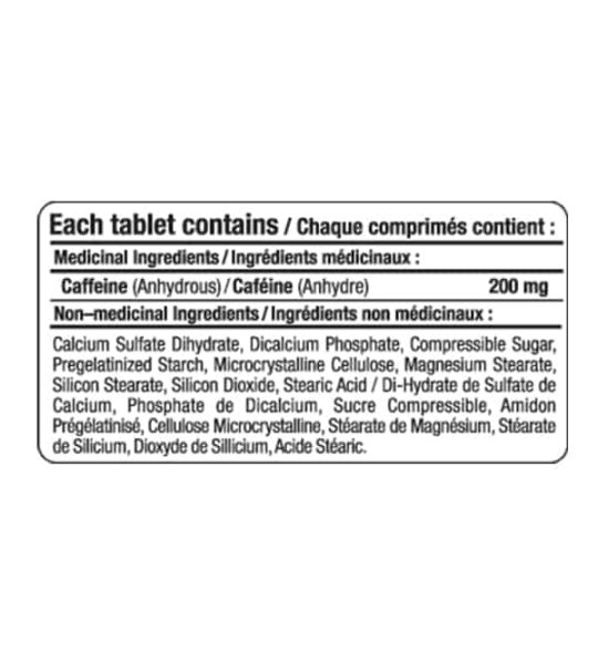 supplement facts for Allmax Caffeine 200mg 100 tablets shown in black text in white background