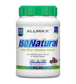 One white and green container of Allmax IsoNatural 2 lbs PURE WHEY PROTEIN ISOLATE Chocolate flavour