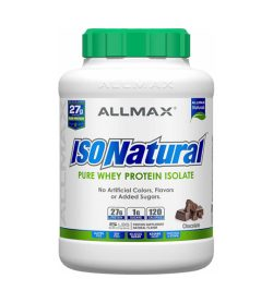 One white blue and green container of Allmax IsoNatural 5 lbs PURE WHEY PROTEIN ISOLATE Chocolate flavour