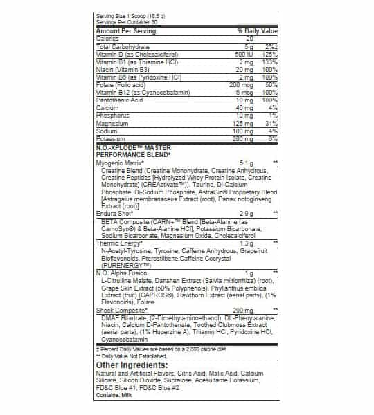 Nutrition facts and ingredients panel of BSN NO XPLODE for serving size of 15.5g