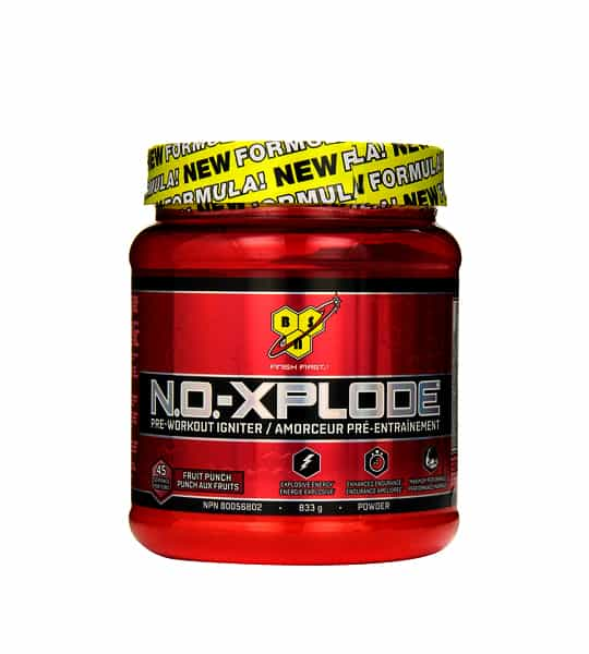 Red container with yellow cap of BSN N.O.-XPLODE pre-workout igniter 833g powder with fruit punch flavour
