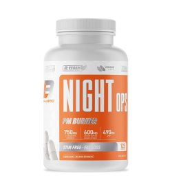 One white and orange bottle of Ballistic Labs Night Ops PM BURNER STIM FREE - FAT LOSS 125 caps