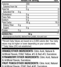 Supplement facts and ingredients panel of EFX Karbolyn Fuel for a serving size of 1 scoop (50.8 g) with 20/40 servings per container