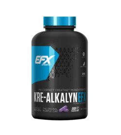 Black and blue container with blue lid of EFX Sports Kre-AlkalynEFX Ph-Correct Creatine MonoChydrate with the original purple cap