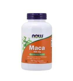 White and orange bottle with purple cap of NOW Maca 500mg Reproductive Health 250 Veg Capsules