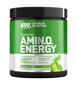 One black and green container of Optimum Nutrition Amino Energy 30 Servings Lemon and Lime flavour