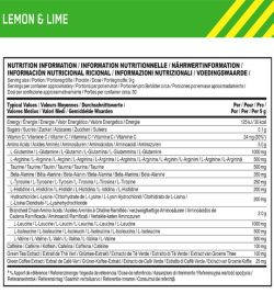 Nutrition fact and ingredients panel of Optimum Nutrition Amino Energy 30 Servings Lemon and Lime Serving size : 9 g