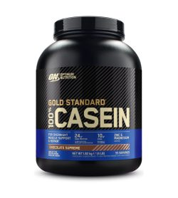 One black and blue container of Optimum Nutrition Casein 4lbs Chocolate Supreme flavour