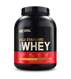 One black and red container of Optimum Nutrition Gold Standard Whey 5lbs Chocolate Peanut Butter flavour
