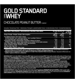 Optimum Nutrition Gold Standard Whey 5lbs Chocolate Peanut Butter facts serving size 33 g