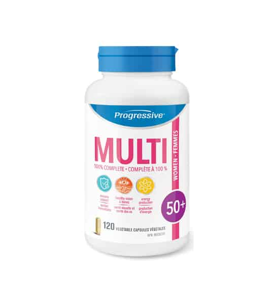 White bottle with blue cap of Progressive MultiVitamins Women 50+ contains 120 vegetable capsules