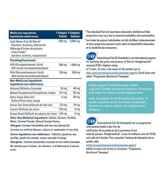 Medicinal ingredients panel of Progressive OmegEssential Fish Oil for serving size of 4 softgels total 120-Softgels
