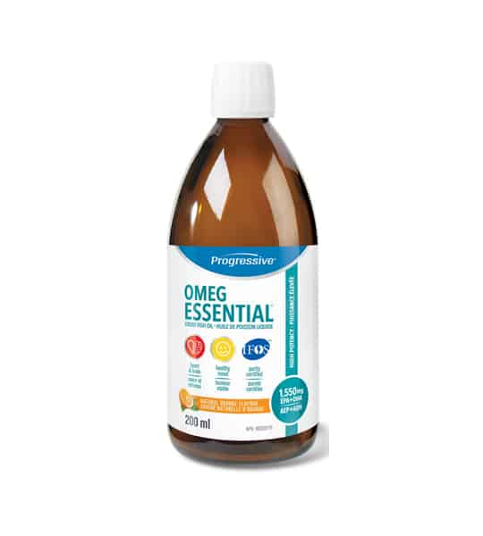 Brown bottle with white cap of Progressive OMEG Essential Fish oil contains 200ml