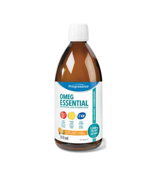 Brown bottle with white cap of Progressive OMEG Essential Fish oil contains 500ml