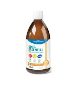 Brown bottle with white cap of Progressive OMEG Essential +D contains 500ml