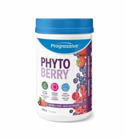 White container with blue cap of Progressive Phyto Berry with Natural Berry flavour contains 450g