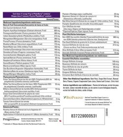 Nutrition facts and ingredients panel of Progressive Phyto Berry Brazillian Berry 450g