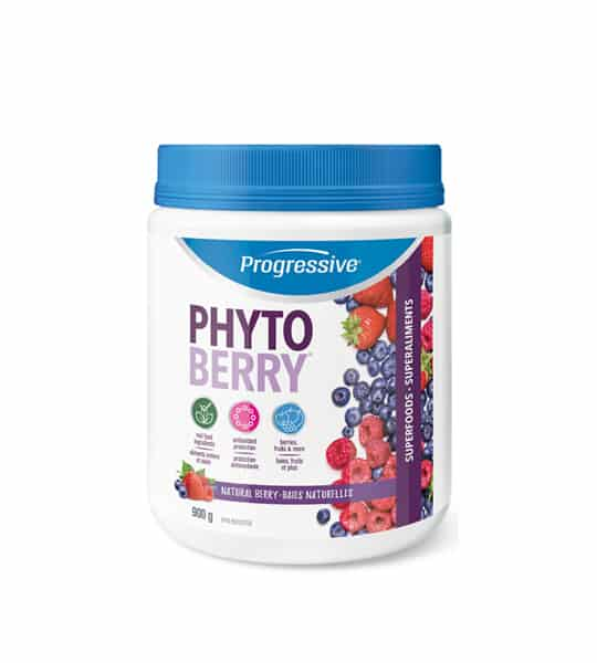 White container with blue cap of Progressive Phyto Berry with Natural Berry flavour contains 900g