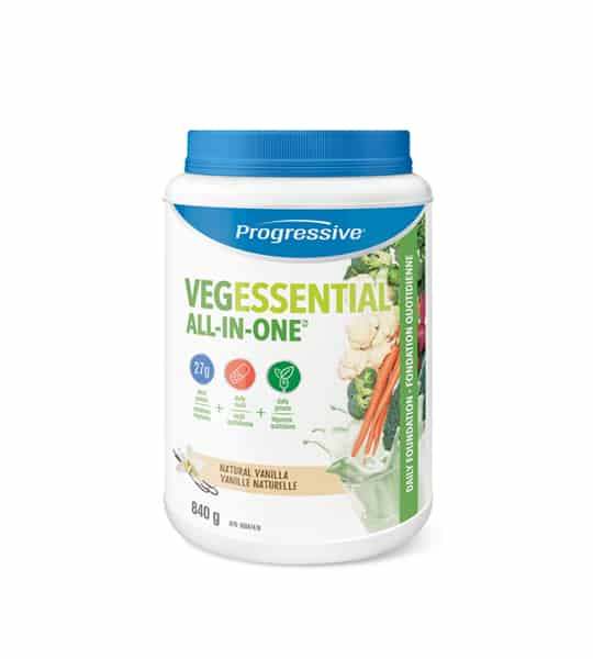 White container with blue cap of Progressive VegEssential All-in-one with Natural Vanilla flavour contains 840g
