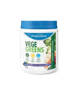 White container with blue cap of Progressive Vege Greens contains 530 g