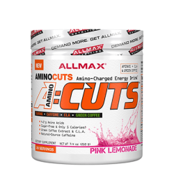 White container with white graphic lid with Allmax New AminoCuts A:Cuts with Pink Lemonade flavour contains 30 servings