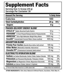 Supplement facts and ingredients panel of Allmax Carbion Electrolytes for serving size of 1/2 scoop (29 g) with 30 servings per container