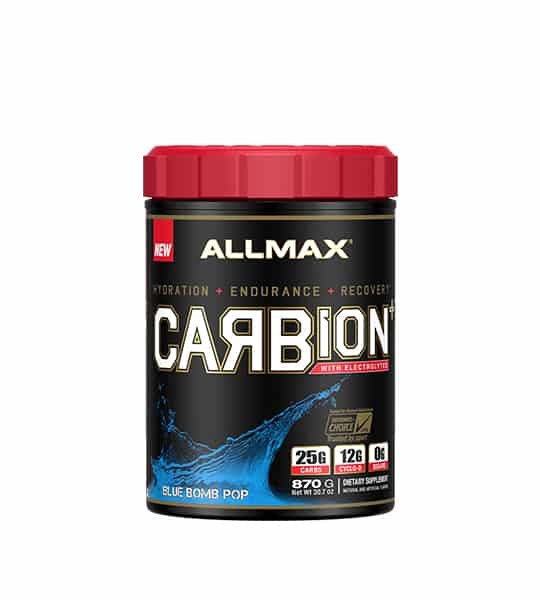 Black container with red cap of New Allmax Carbion with Electrolyte Blue Bomb Pop flavour contains 870 g