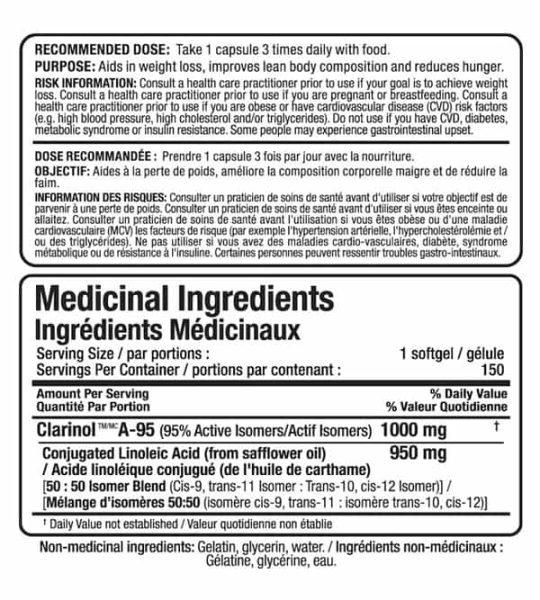 Allmax Nutrition CLA 95 clarinol ingredient panel with conjugated linolec acid from safflower oil