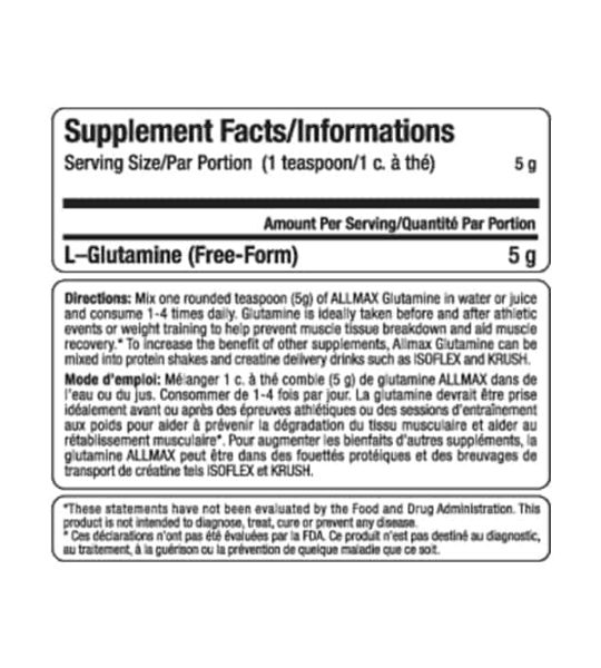 Supplement facts panel of Allmax Glutamine for a serving size of 1 teaspoon (5 g) shown in black text in white background