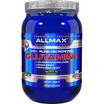 Shiny blue bottle with silver cap of Allmax 100% pure micronized Glutamine dietary supplement contains 1000 g