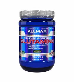 Shiny blue bottle with silver cap of Allmax 100% pure micronized Glutamine dietary supplement contains 400 g