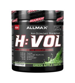 Black container with black graphic lid of Allmax H:Vol non-stimulant pre-workout with green apple martini flavour contains 30 servings