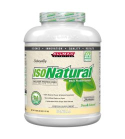 White container with light brown label of Allmax Isonatural Whey Protein Isolate with Vanilla flavour contains 2.27 kg 5 lbs