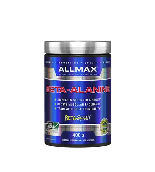 Shiny blue bottle with silver cap of Allmax Beta-Alanine Beta Synth contains 400g of dietary supplement