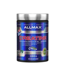 Shiny blue bottle with silver cap of Allmax Creatine Pharmaceutical Grade CreaSyn contains 1000g of dietary supplement