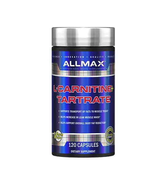 Shiny blue bottle with silver cap of Allmax L-Carnitine+ Tartrate contains 120 capsules of dietary supplement which supports transport of fats to muscle tissues