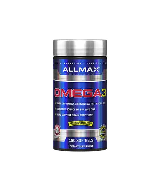 Shiny blue bottle with silver cap of Allmax Omega3 contains 180 softgels of dietary supplement