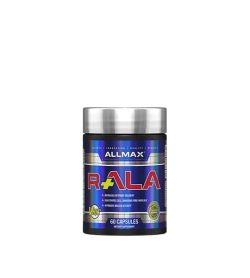 Shiny blue bottle with silver cap of Allmax R+ALA contains 60 capsules of dietary supplement