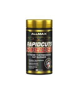Black container with gold cap of Allmax Rapidcuts Shredded Extreme Thermogenic Fat Burner with Extreme Energy