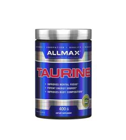 Shiny blue bottle with silver cap of Allmax Taurine contains 400g of dietary supplement which improves mental focus
