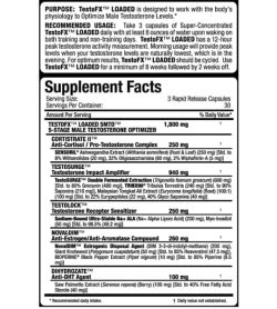 Supplement facts panel of Allmax Nutrition Testfx for serving size of 3 rapid release capsules with 30 servings per container