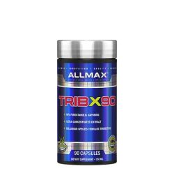 Shiny blue bottle with silver cap of Allmax TribX90 contains 90 capsules of dietary supplement 750mg