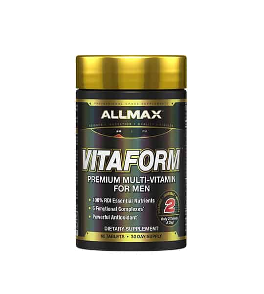 Black container with gold cap of Allmax Vitaform Premium Multi-Vitamin for men dietary supplement contains 60 tablets