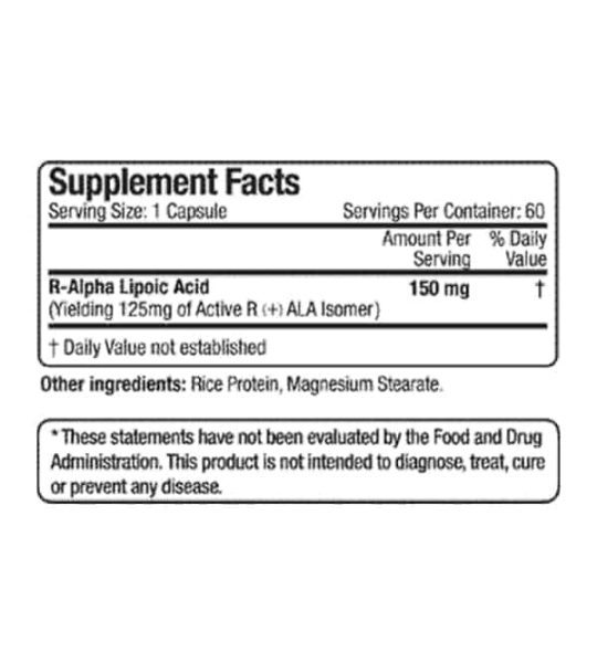 Supplement facts and ingredients panel of Allmax R ALA for a serving size of 1 capsule with 60 servings per container